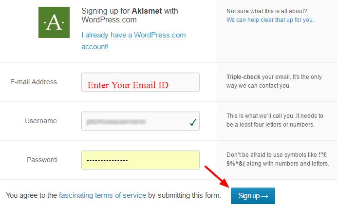 steps to get free akismet API key