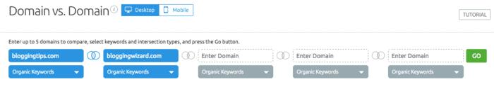 Domain vs domain feature of SEMrush