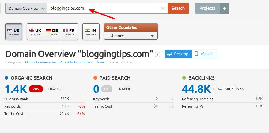 Find competitor websites using SEMrush