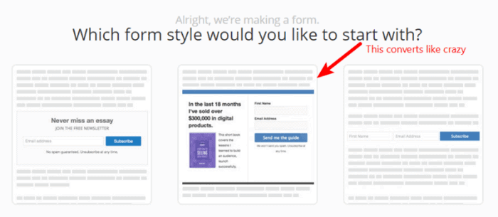 Convertkit review: Email optin forms include content upgrade forms