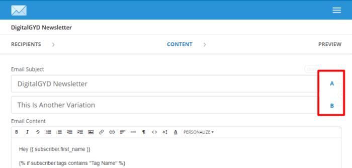 A/B split testing in Convertkit email marketing service provider