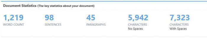 ProWritingAid's document statistics