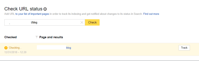 Submitting a specific page URL to Yandex
