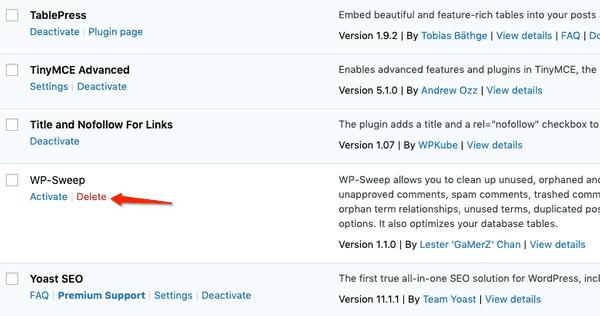 delete unused WordPress plugins