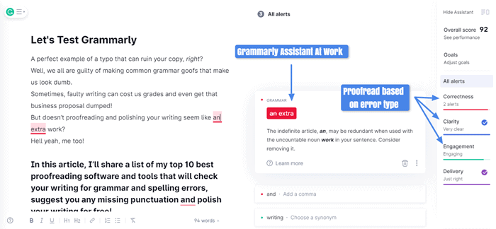 proofreading online with Grammarly